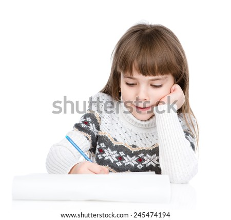 Christmas girl writes letter to Santa. isolated on white background - stock photo
