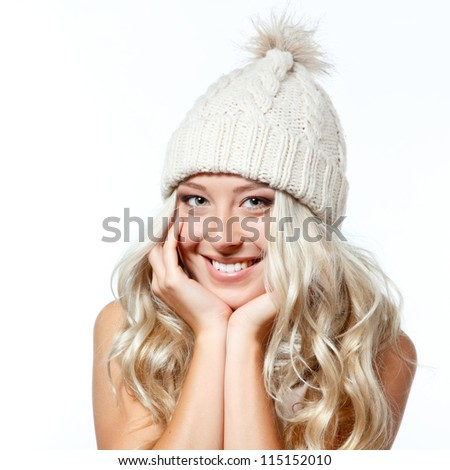 christmas girl, young beautiful smiling girl over white background
