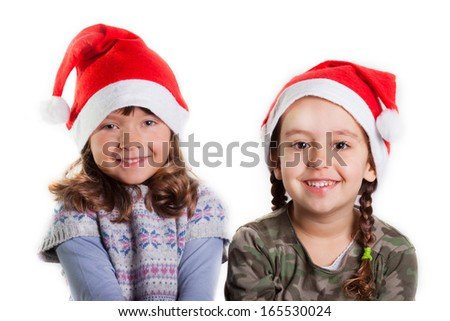 Christmas girls on white background