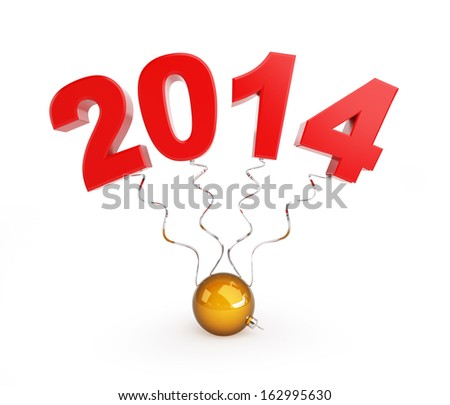christmas glass ball, new year 2014 on a white background - stock photo