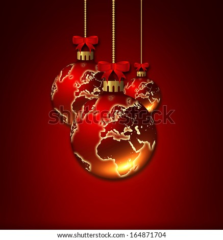 christmas glass balls with world pattern isolated over dark red background - stock photo