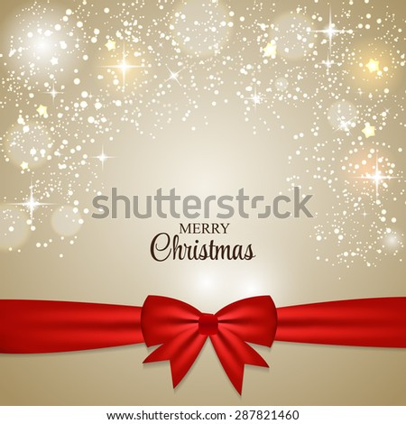 Christmas Glossy Star Background with Ribbon  Illustration