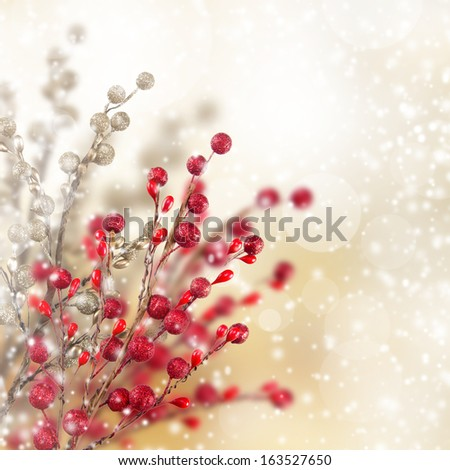 Christmas gold and red decorations. - stock photo