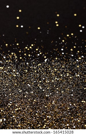 Christmas Gold and Silver Glitter background. Holiday abstract texture  - stock photo