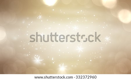 Christmas gold background. The winter background, falling snowflakes
