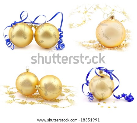 Christmas gold balls holiday collection - stock photo