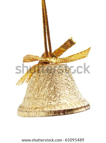 Christmas gold bell isolated on a white  background - stock photo
