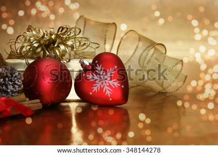 Christmas gold decorations and bokeh lights