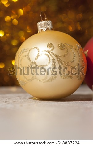 Christmas gold ornament ball