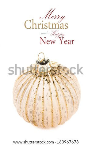 Christmas Golden  ball isolated on white background, festive decorations. Christmas ornaments macro.  (with easy removable sample text) - stock photo