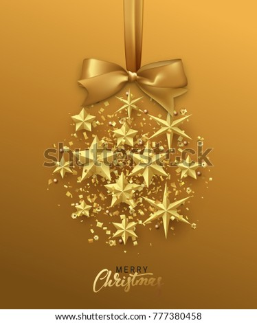 Christmas golden ball made of gold stars. Christmas greeting card. Xmas Background