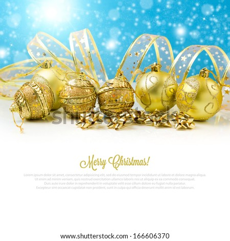 Christmas golden balls and baubles
