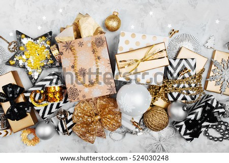 Christmas golden gifts and decorations