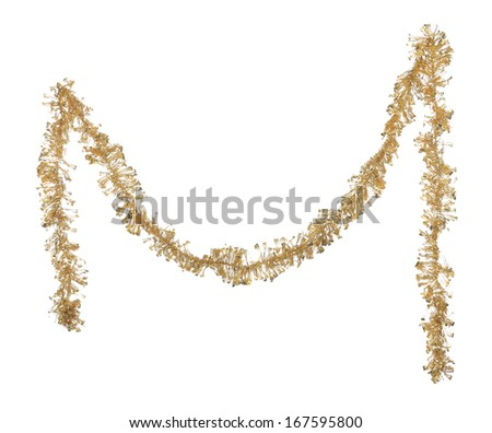 Christmas golden tinsel. Isolated on a white background. - stock photo
