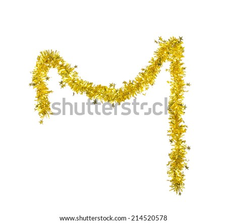 Christmas golden tinsel with stars. Isolated on a white background. - stock photo