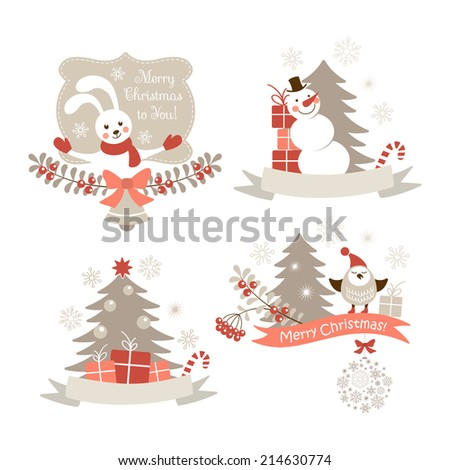 Christmas graphic elements set - stock photo