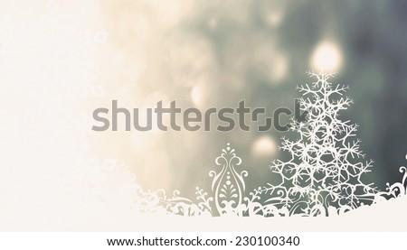 Christmas  gray background with Christmas tree  - stock photo