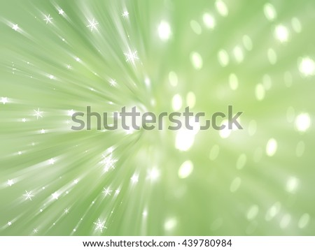 Christmas green background with falling snowflakes.