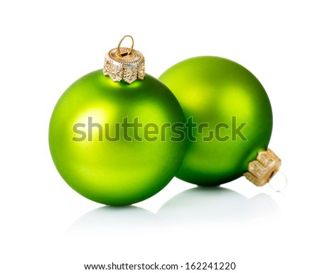 Christmas Green Ball Isolated on White Background. New Year's Bauble - stock photo