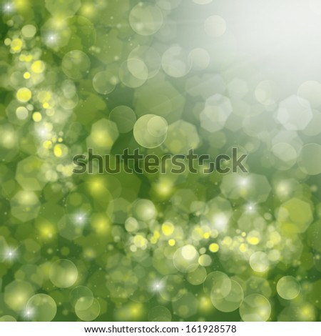 christmas green defocused background with golden sparkles