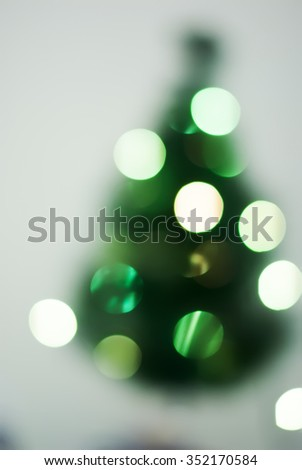 Christmas Green Fir Tree Lights in Defocused Boke, vintage effect