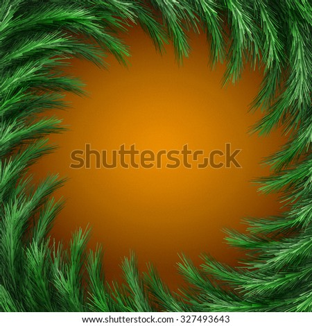 Christmas green  framework isolated on orange background