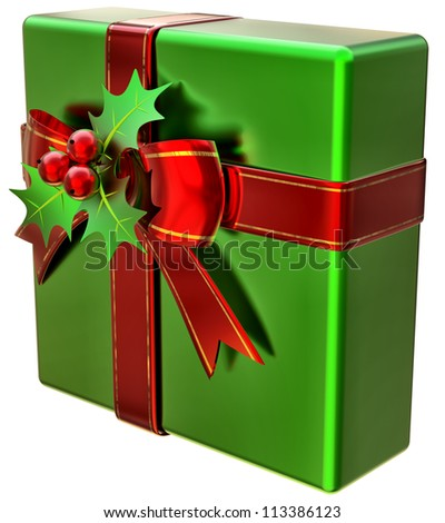 Christmas green gift with red ribbon and bow on white background