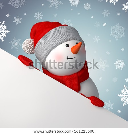 Christmas greeting banner, 3d snowman looking up and holding blank page corner - stock photo