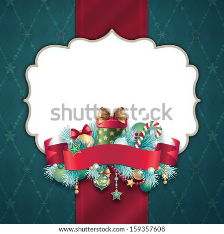 Christmas greeting banner template, vintage festive background - stock photo