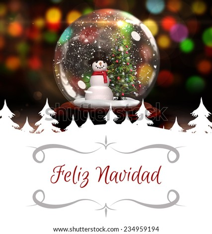 Christmas greeting card against christmas tree and snowman in snow globe - stock photo