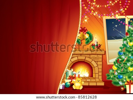 Christmas Greeting Card, Background with decorated Interior, Christmas tree, Festive Fireplace - stock photo