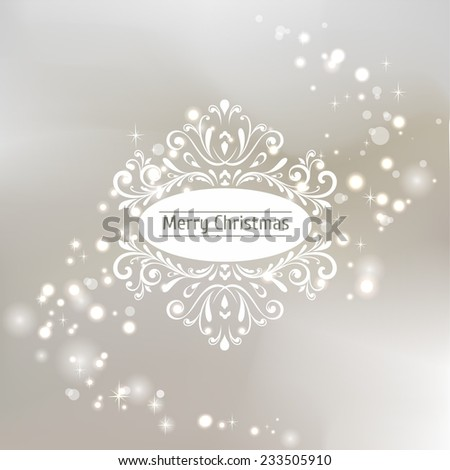 Christmas greeting card. Bokeh background with snowflakes. - stock photo