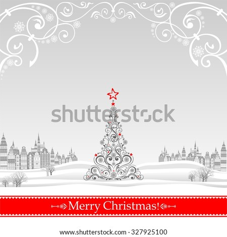 Christmas greeting card. Celebration background with Christmas Landscape, Christmas tree and place for your text.  Illustration - stock photo