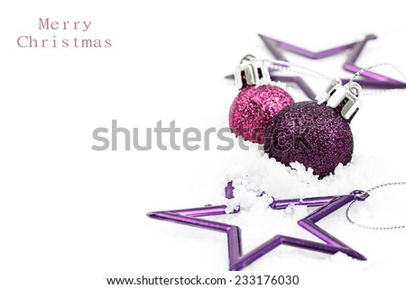 Christmas greeting card, Christmas color balls and stars on white background with copy space - stock photo