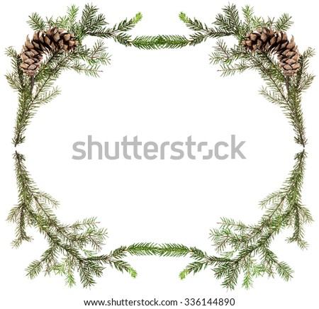 christmas greeting card frame - simple spruce twigs with cones on white background - stock photo