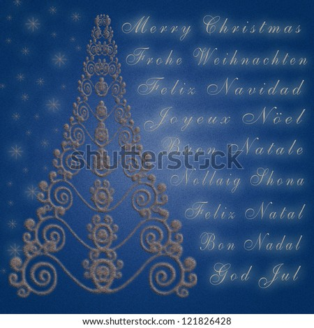 Christmas greeting card in silver and blue - stock photo