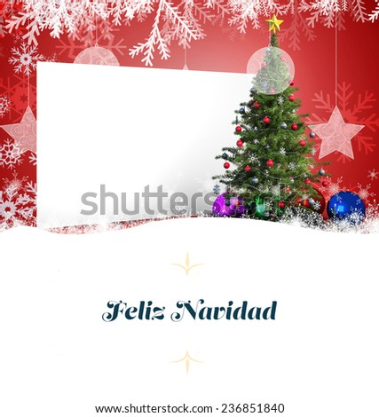 Christmas greeting card order against poster with christmas tree - stock photo