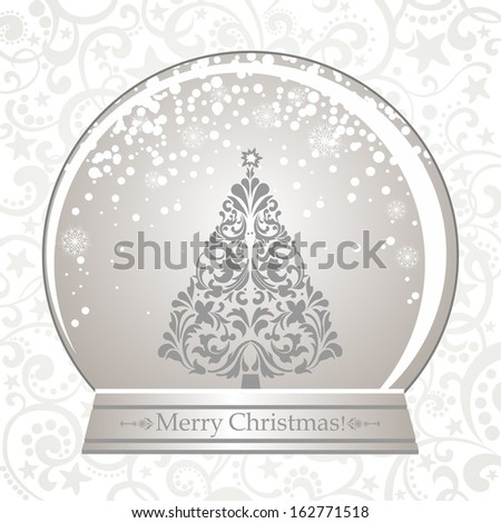 Christmas Greeting Card. Vintage card with Christmas Snow globe.  illustration  - stock photo