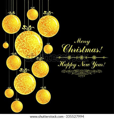 Christmas Greeting Card. Vintage card with Golden Christmas balls.  illustration - stock photo