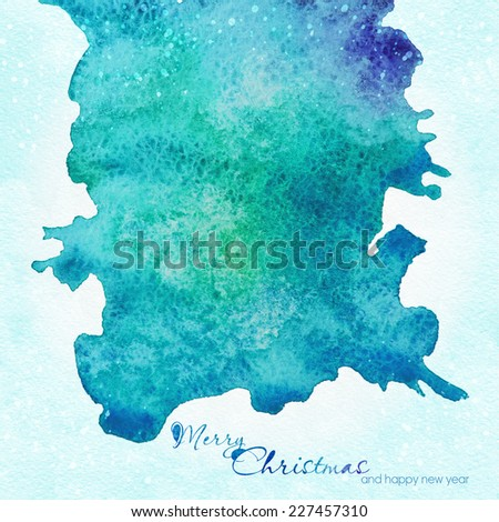 Christmas greeting card . Watercolor illustration with place for text. - stock photo