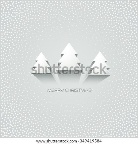 Christmas greeting card. White paper christmas tree. Merry Christmas. Raster copy - stock photo
