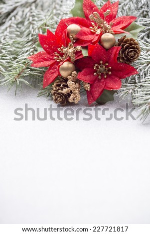 Christmas greeting card with Christmas decorations.