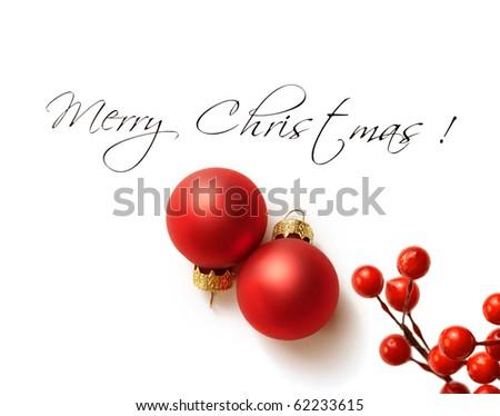 christmas greeting card with christmas ornaments - stock photo