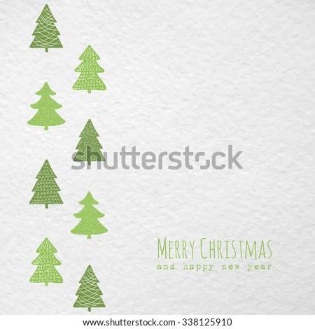 Christmas greeting card with Christmas trees. Raster version - stock photo