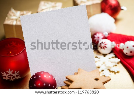 Christmas Greeting card with cookies, Christmas balls and decorations - stock photo