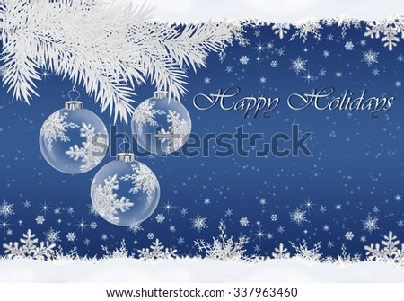Christmas greeting card with pine branches and balls.  - stock photo