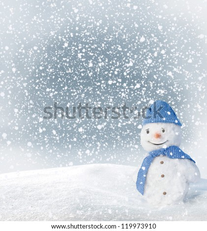 Christmas Greeting Card with snowman - stock photo