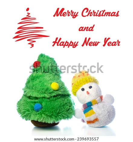 Christmas greeting card with snowman toy and fir tree on white background with reflection