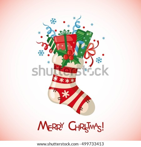 Christmas greeting card with sock full of gifts in flat style.