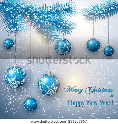 christmas greeting card with tree branch and blue balls on snow background